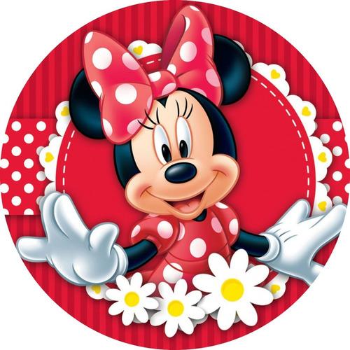 Painel Redondo + Faixas De Cilindros  Minnie Vermelha