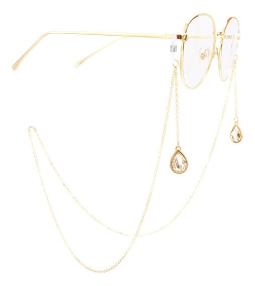 Cordão Para Óculos Metal E Pedra Pêndulo 75cm Delicado