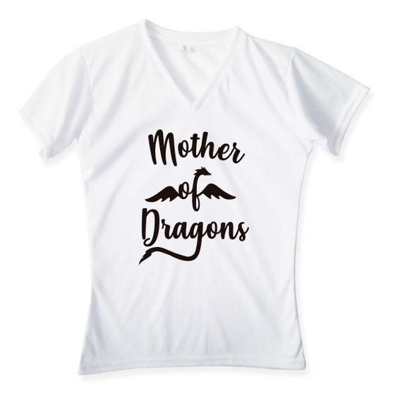Playera Personalizada Mujer Cuello V Got Dragon Mother