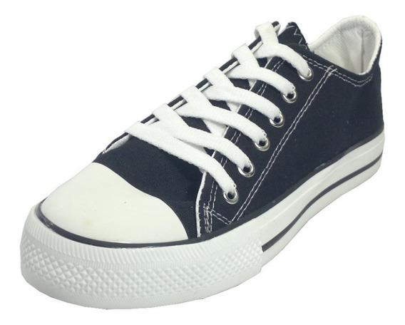 Zapatillas De Lona Con Cordones Negras 35 Al 40 En Moreno