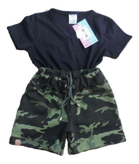 Kit Camiseta+short Feminino Camuflado Militar Verão