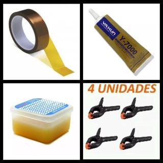 Kit 4 Grampos Fixador+pasta Solda+ Fita Kapton