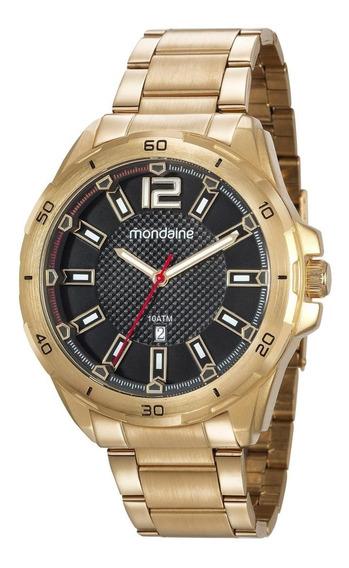 Relógio Masculino Mondaine 53704gpmvde1 50mm Aço Dourado
