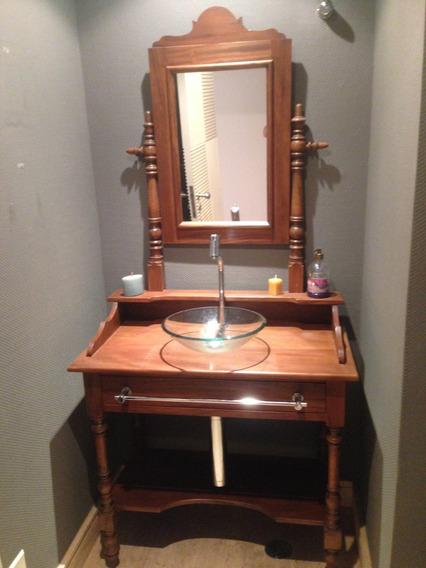 Móvel Antigo Lavabo Madeira Cuba Torneira Toalheiro Espelho