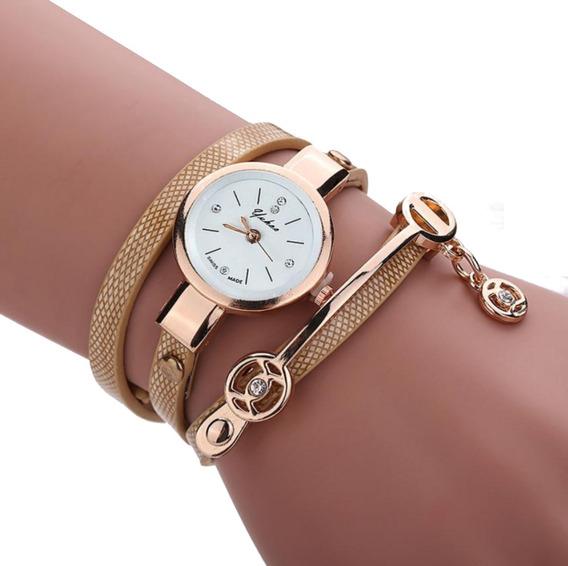 Relógio Feminino Pulseira Dourada Couro Alça Barato Promoção