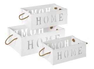 Huacales O Cajas De Madera Vintage Set D 3 Cajas Home Blanco