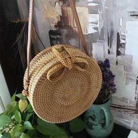 Bolsa Redonda Bambu Boho Média Modelo Bolsinha Tiracolo