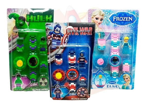 Kit Relógios Digital Infantil - Elsa + Hulk + Cap América