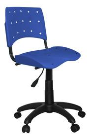 Cadeira Secretária Plástica Giratória Ergoplax Azul