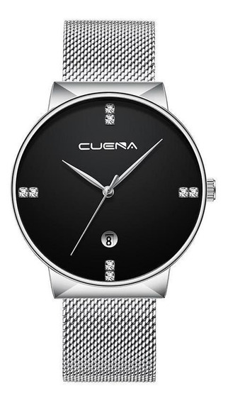Relógio Masculino Cuena Espirion Malha De Aço Silver Black