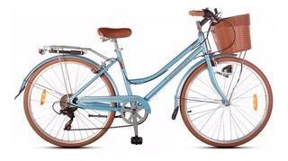Bicicleta De Paseo Aurora Vita Retro R26 6v Dama Aluminio *