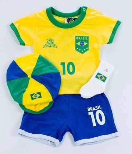 Kit Brasil 4 Peças Conjunto Futebol Seleção Brasileira