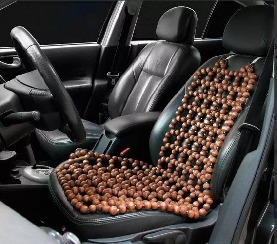 Capa Assento Massageadora Automóvel Bolinhas Madeira