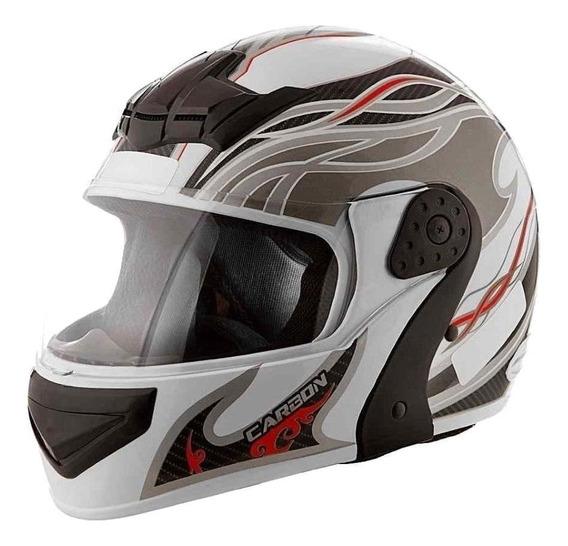 Capacete para moto escamoteável Mixs Gladiator Carbon branco/cinza M
