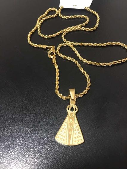 Corrente 60cm Banhada A Ouro 18k Cordão Ping Nossa Senhora
