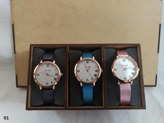 3 Relógio Feminino Yolaco Pulseira Colorida Em Caixa Mdf