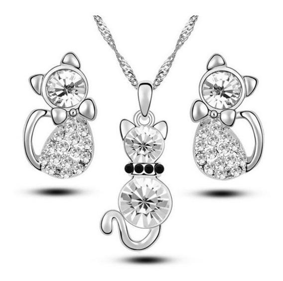 Dije Collar Y Aretes Gatos Cristales Envio Gratis!