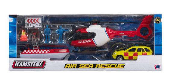 Helicoptero Rescate Mar Air Sea Rescue Auto Metal Teamsterz