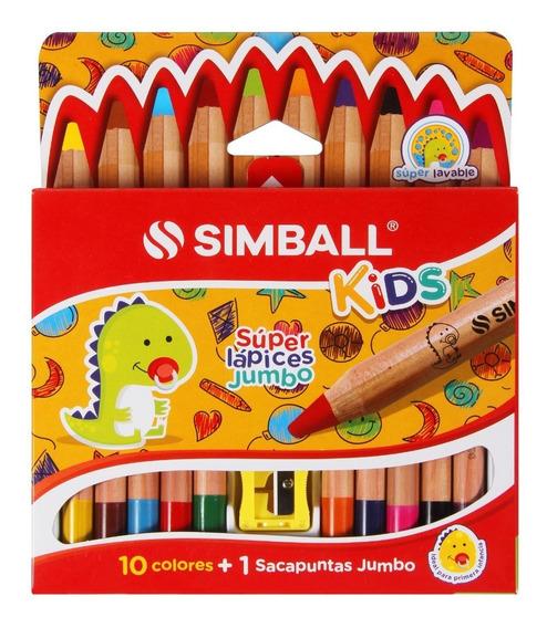 Súper Lápices Jumbo X 10 Colores Simball Kids