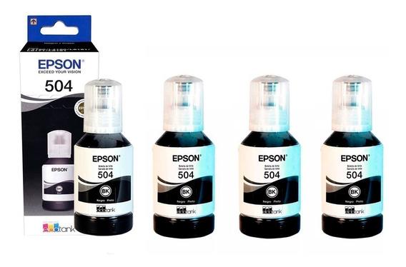 Tinta Epson T504 Kit 4 Botellas Negro Para L4150 L4160 L6161