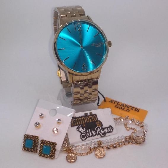 Relogio Feminino Dourado Atlantis Gold Original Kit Biju