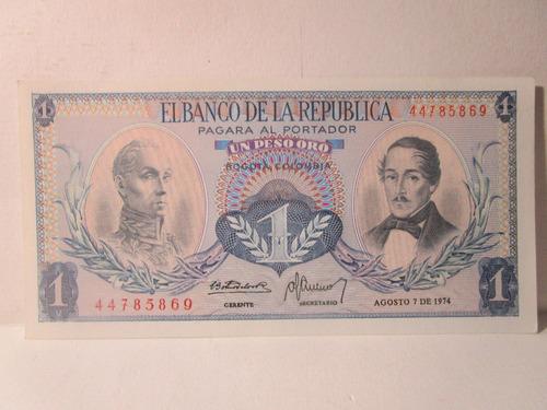 Imagen 1 de 4 de 1 Un Pesos Oro Colombia Agosto 7 De 1974
