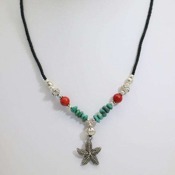 Colar Feminino Com Pingente Estrela + Pedra Coral E Turquesa