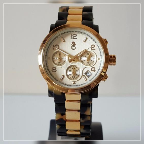 Relógio Feminino Dourado E Marrom Tartaruga Atlantis C/ Data