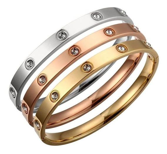 Kit C/ 3 Pulseiras Bracelete Feminino Vernazza De Aço Inox