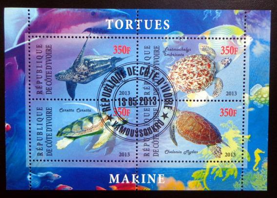 Costa Marfil Fauna, Bloque 4 Sellos Tortugas 13 Usado L9907