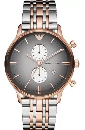 Relógio Emporio Armani Ar1721 Prata,preto E Rose Original