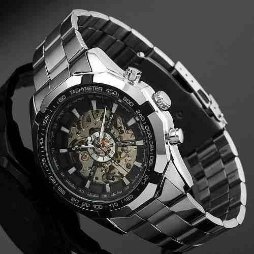 Relógio Winner Automático Esqueleto Aço Inox Original Oferta