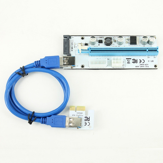 Adaptador 2 Kit Riser Bitcoin Placa De Video Pci Express
