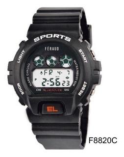 Reloj Hombre Feraud Deporte Negro Digital 50m Alarma F8820c