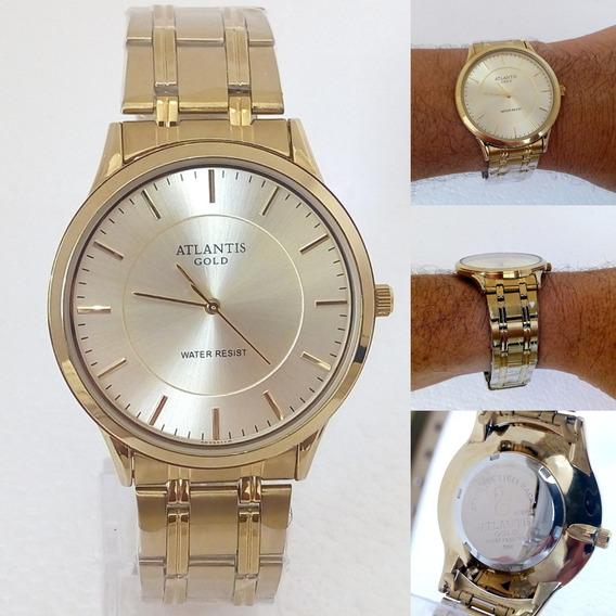 Relógio De Pulso Masculino Atlantis Dourado Original Barato