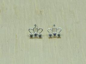 Brinco Feminino Em Prata 925 Para 2º Furo Coroa Com Zircônia