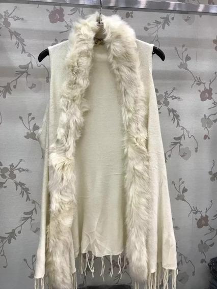 Poncho Colete De Lã Com Pelos Sintetico Roupas Feminina