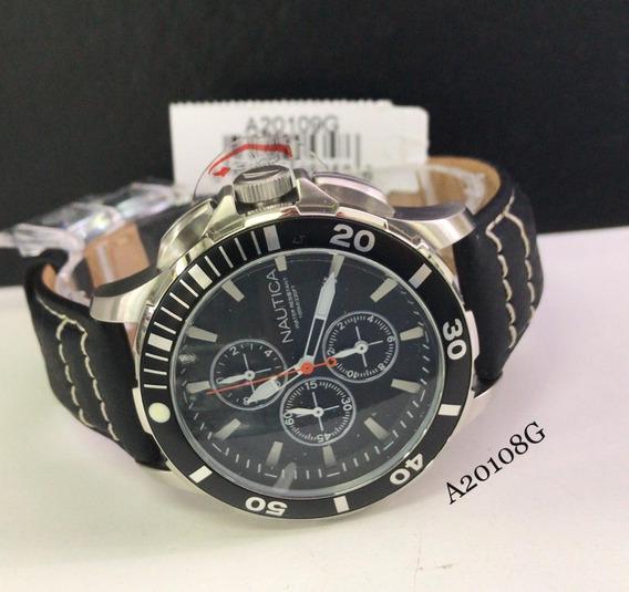 Relógio Nautica Cronografo A20108g Aço Inox Pulseira Couro