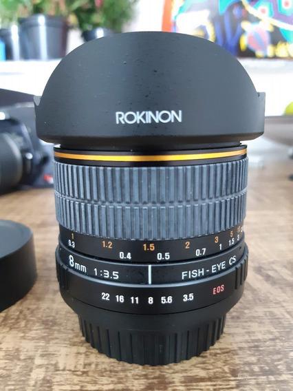 Lente Rokinon Fisheye 8mm F/3.5 Para Canon