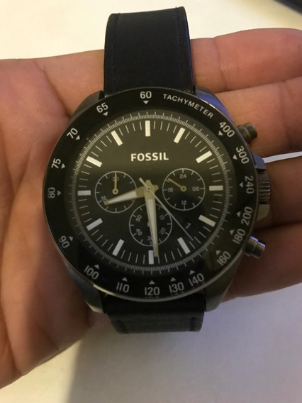 Relógio Fossil Cronografo Fundo Branco Aço Bq2166ie