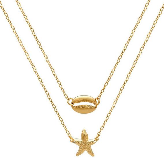 Escapulário Buzio Búzios Estrela Do Mar Folheado Ouro 18 K