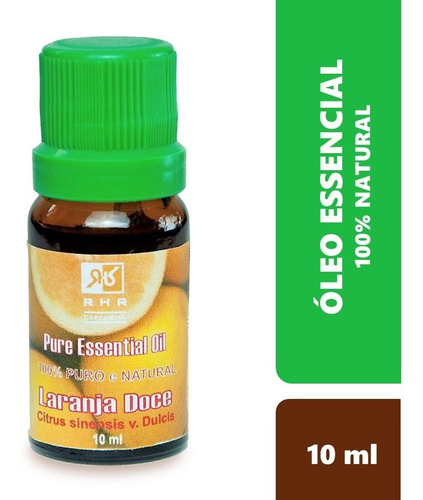 Oleo Essencial De Laranja Doce Natural 100% Puro 10 Ml - Rhr