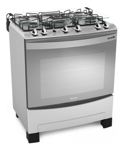 Imagen 1 de 6 de Cocinas A Gas 5 Hornallas Encendido Inox Vidrio Espejado Ebz