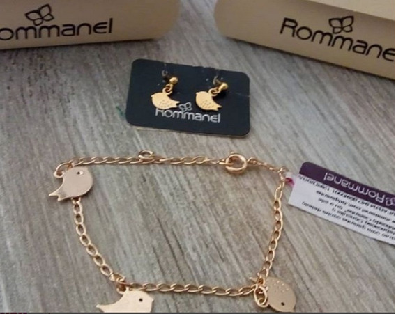 Pulseira Infantil Pássaros Rommanel 550887/ Brinco 524090