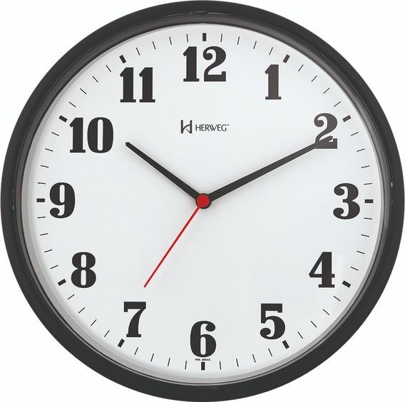 Relógio De Parede Preto 26cm Com Tic-tac Herweg 6126