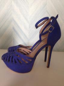 Sandalia Constance Salto Alto Azul Nº 37