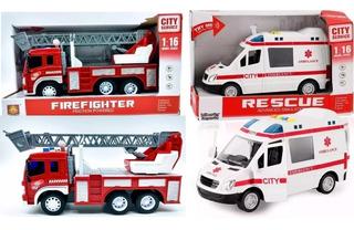 Kit 2 Brinquedo Ambulância + Caminhão Bombeiro Sirene