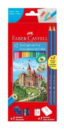 5 Caixa De Lápis De Cor Faber Castell Ecolápis 12 Cores