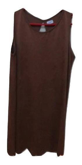 Vestido Corto Casual De Gamuza Calado Detalle En Espalda