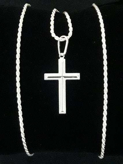 Cordão Baiano 70cm + Crucifixo Em Prata Pura 925 + Brinde !